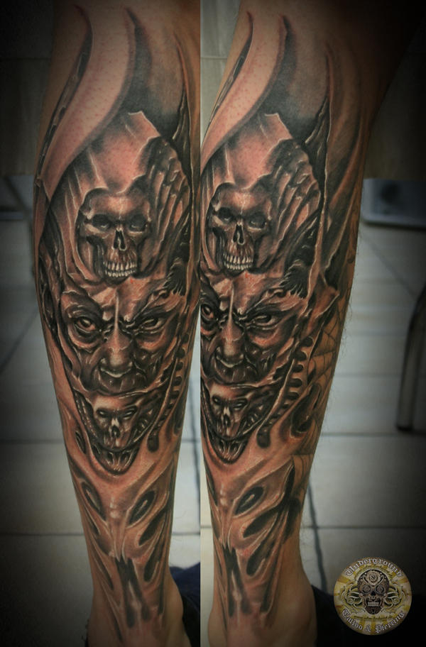 Demon face horror skull final by 2face tattoo on deviantart for Two faced tattoo