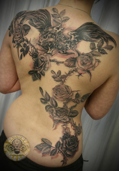 Adios Onkelz roses Tat final - flower tattoo