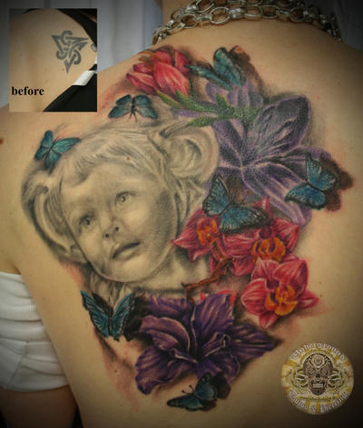 Shoulder Flower Tattoos on Daughter Portrait Flower 2 Ses   Shoulder Tattoo