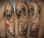Skull faces Scorpion tat prog.