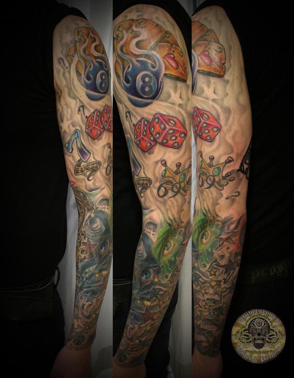 Random Tattoo Sleeve: Sleeve Dices Stars Color By 2Face-Tattoo On DeviantArt