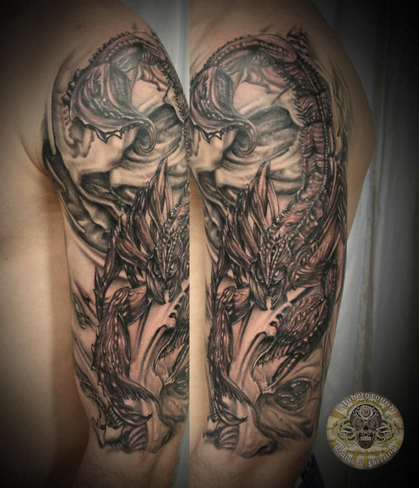 Skull faces Scorpion done by 2Face-Tattoo