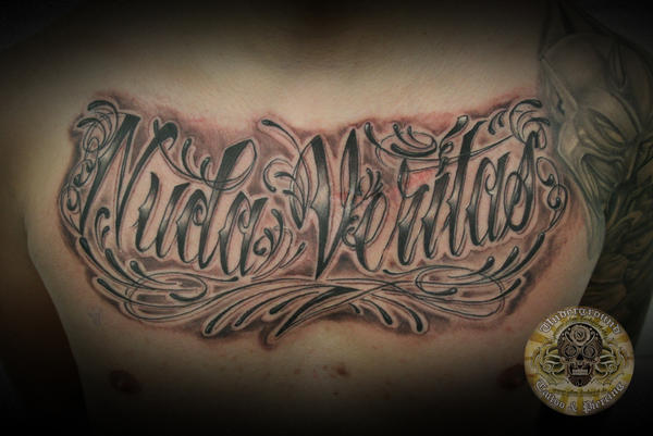 Chicano writing nuda veritas by 2face tattoo on deviantart for Chicano tattoos meanings
