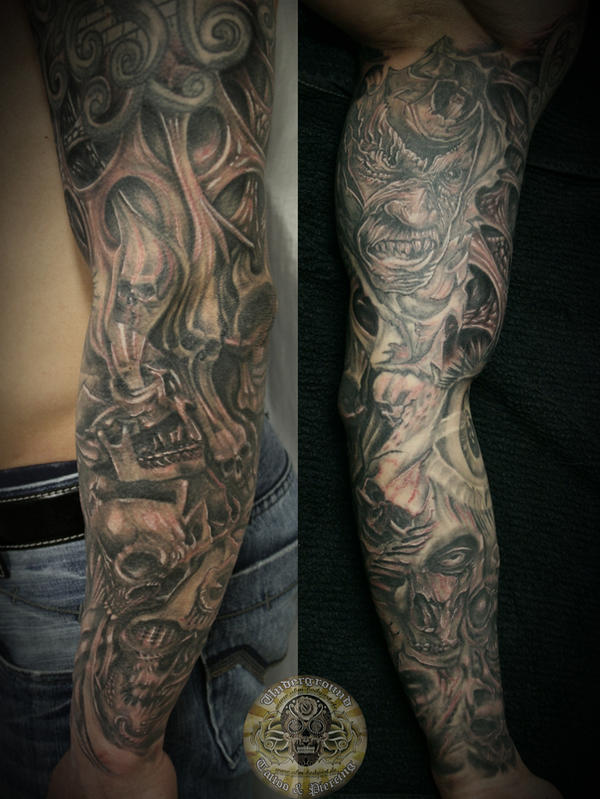 Name required Email required URL full sleeve skull tattoo finished by