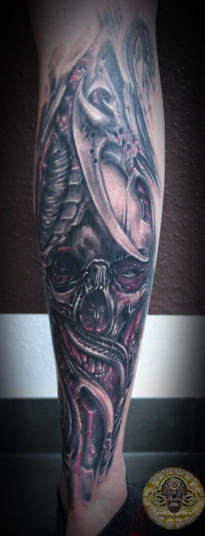 Bloody skull biomech tat by 2Face-Tattoo