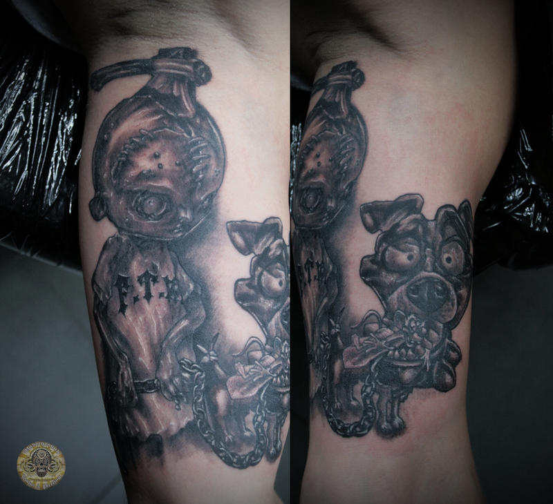 psycho boy comic dog tat by 2Face-Tattoo