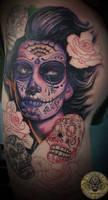 La Catrina Dia de los muertos prog tat by 2Face-Tattoo