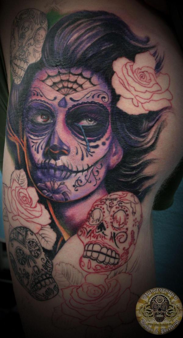 La catrina dia de los muertos prog tat by 2face tattoo on for Dia de muertos tattoos