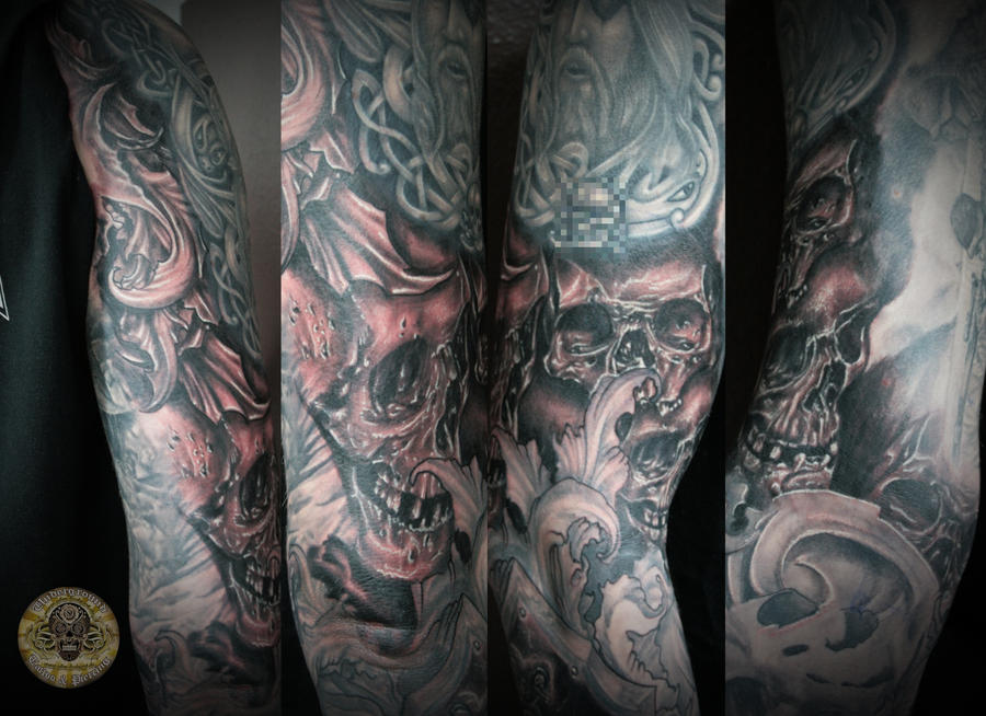 Skull Horror Viking Military Armsleeve In Prog By 2face Tattoo On