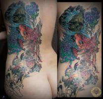 Koi flower skull half back sleeve in prog. by 2Face-Tattoo