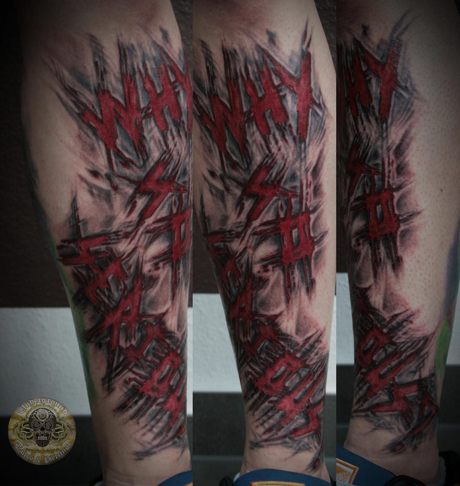 bloody scratchy sliced lettering tattoo in prog.