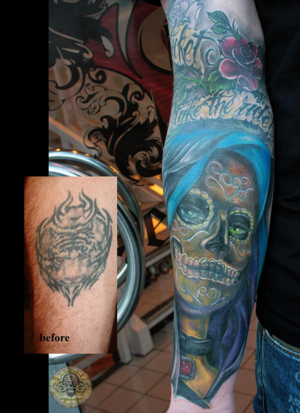 cover up santa muerte color by 2face tattoo on deviantart. Black Bedroom Furniture Sets. Home Design Ideas