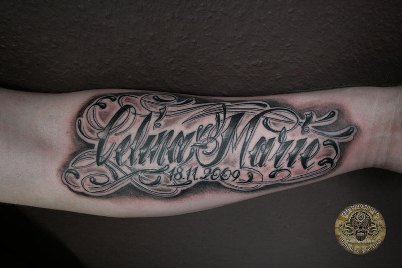 Chicano Lettering Calina Marie By 2Face Tattoo