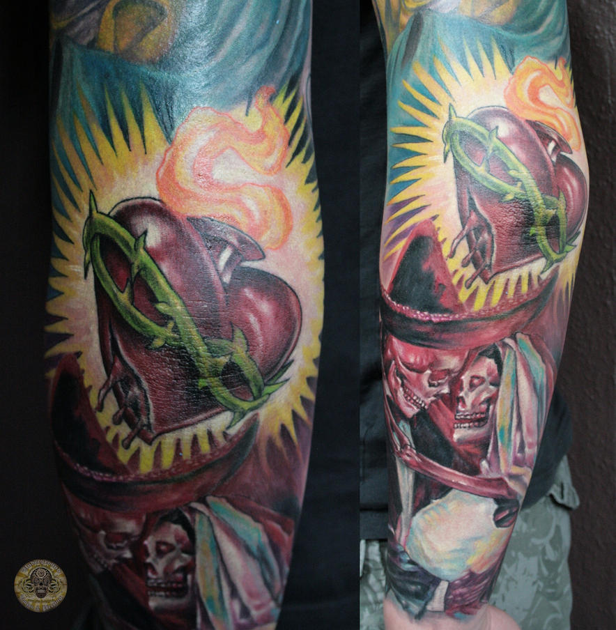 boda wedding dia de los muertos heart step 2 by 2Face-Tattoo