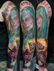 boda dia de los muertos heart catrina step3 by 2Face-Tattoo
