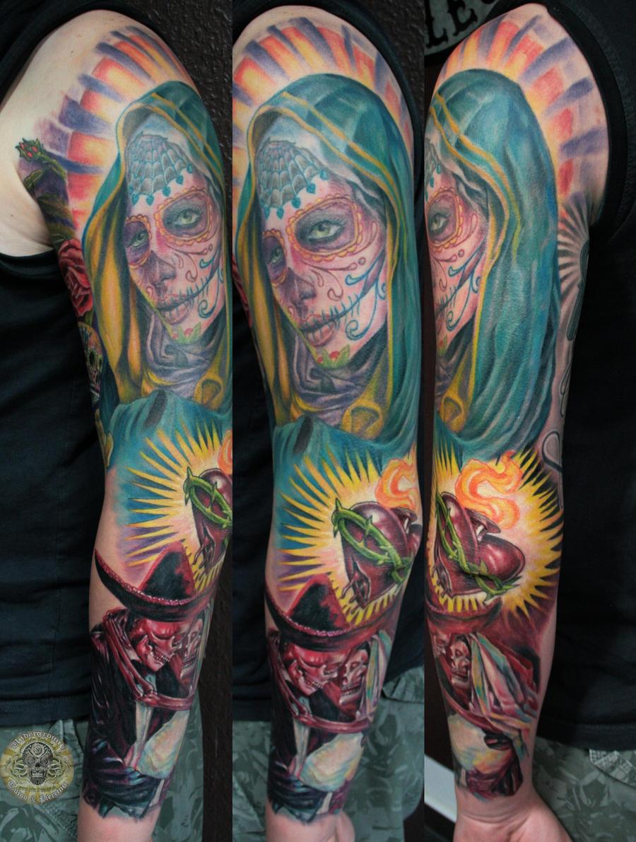 Boda dia de los muertos heart catrina step3 by 2face for Yellow tattoo on dark skin