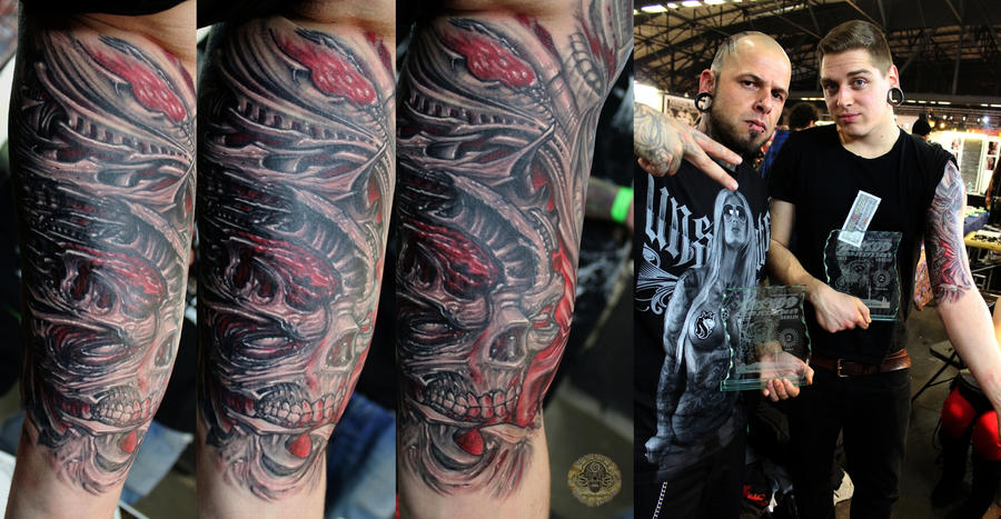 Biomech  2nd  place Berlin Tattoo Convention by 2Face-Tattoo
