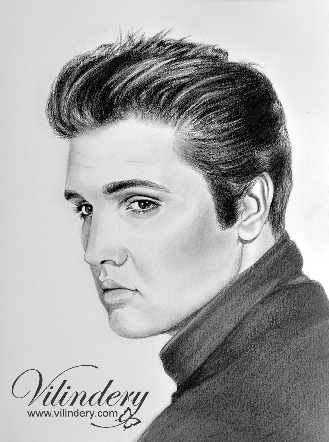 Elvis Presley - pencil drawing by vilindery