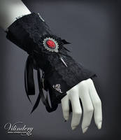 Goth Victorian Cuff Bracelet with rose cameo by vilindery