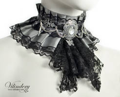 Fantasy collar with a black jabot and butterfly by vilindery