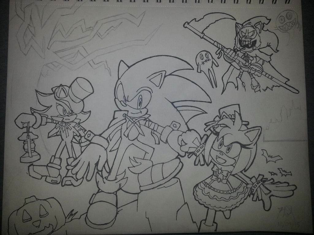 Sonic Halloween 2015 (Semi-inked) - WIP by RGXSuperSonic