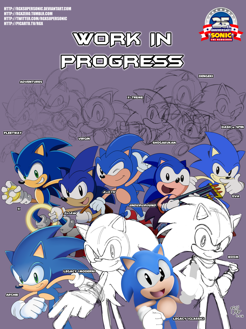 Sonic 25th Sonic The Hedgehog Forever W I P By Rgxsupersonic On Deviantart