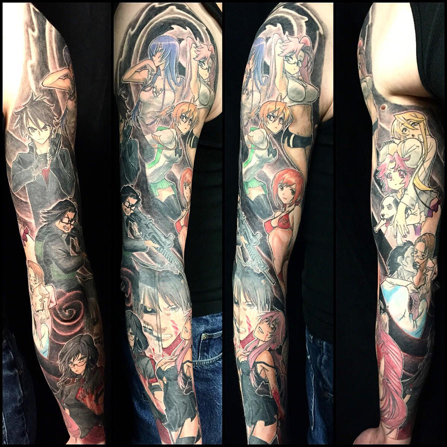 Completed Anime Tattoo Sleeve by NekoRobbie