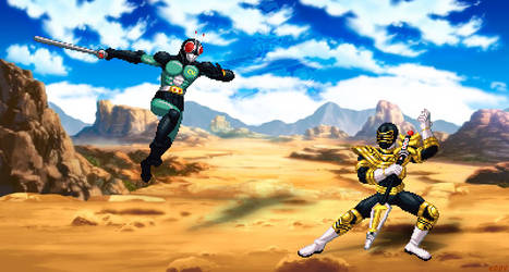 Black Vs Gold - Kamen Rider Black RX vs Gold Range