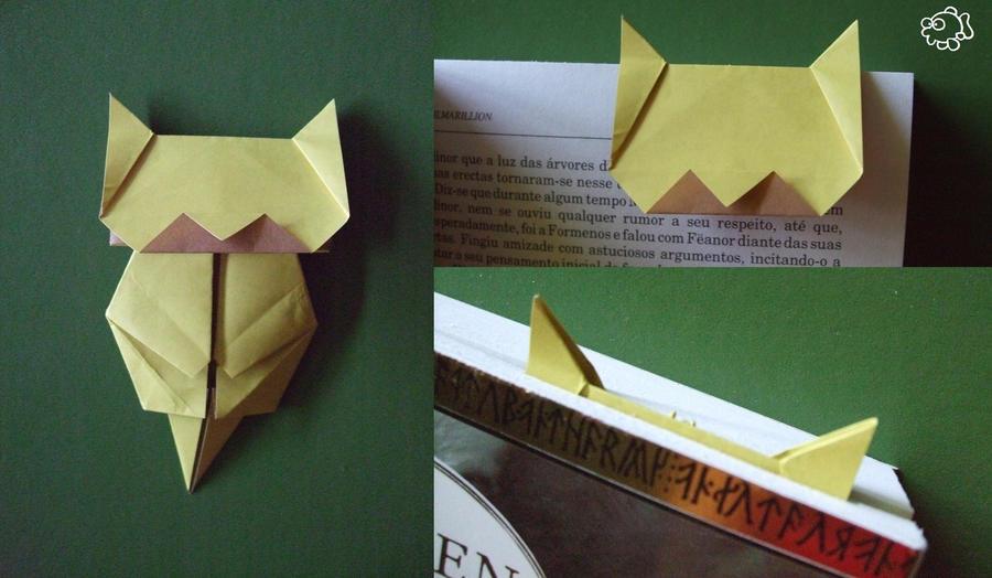 Origami Neko Bookmark Yellow By Funkadelicpsychofish On Deviantart