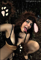 Brown Fluffy Junkyard Puppy Dog Ears and Paws by Lady-with-a-buzzsaw