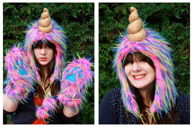 MAGICAL Bright Pink Unicorn Hood and Paws by Lady-with-a-buzzsaw