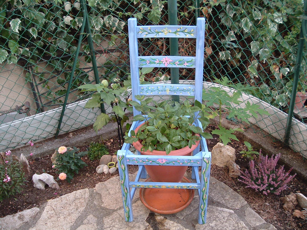 Painted Garden Chair by EmCeedeLune on DeviantArt