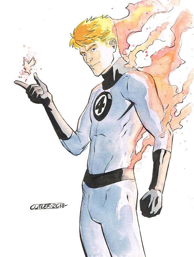 Human Torch con sketch by davidjcutler