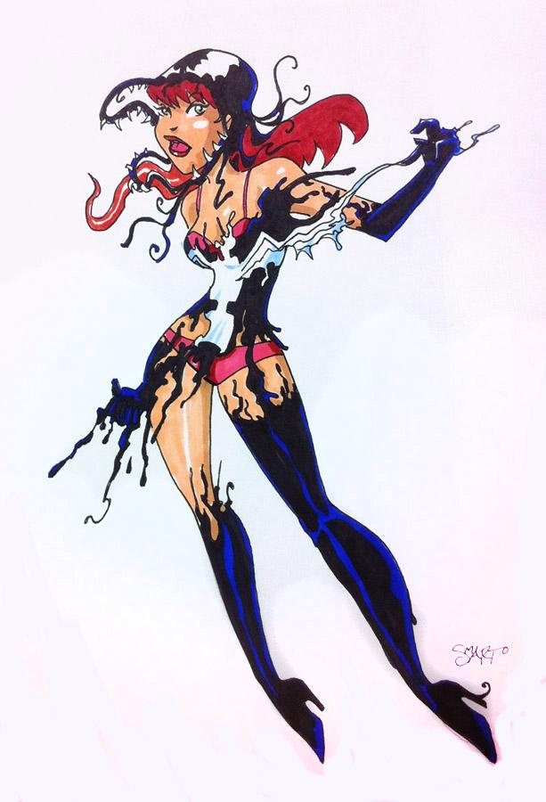 C2E2 MaryJane/Venom sketch by KidAntipathy