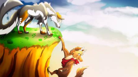 Cliffhanger - Gift art for Skailla by EpicSaveRoom
