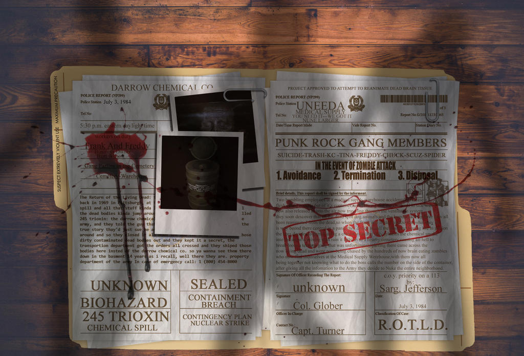 Return Of The Living Dead Top Secret Document by bobbyboggs182
