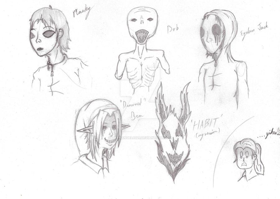 CreeepyPasta sketches 2 by darkangel6021