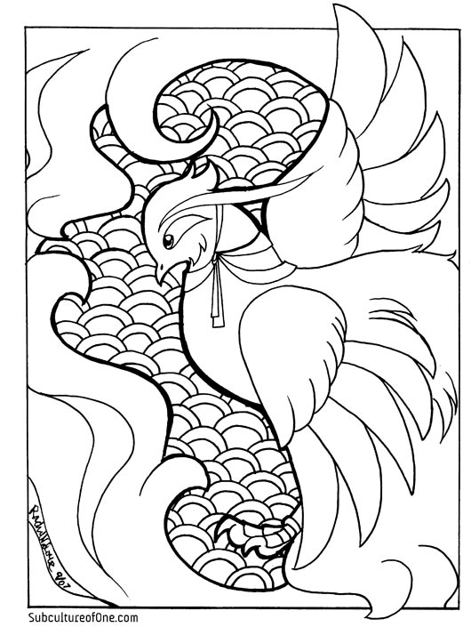 phoenix coloring book page by rachelthegreat on deviantart - Coloring Book Pics