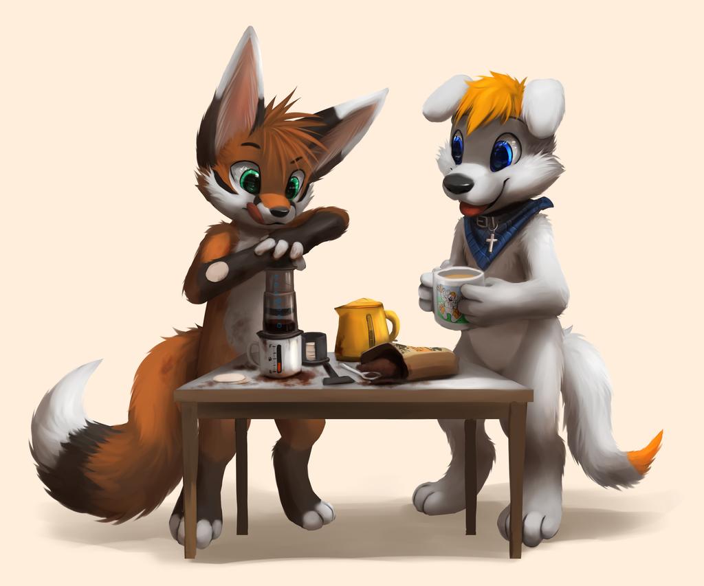 Bunny Drinking Coffee