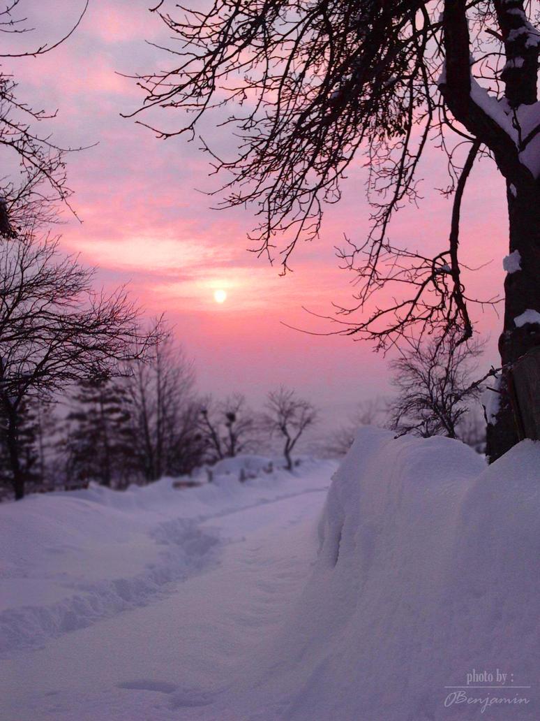 Sunset in winter by OBenjamin