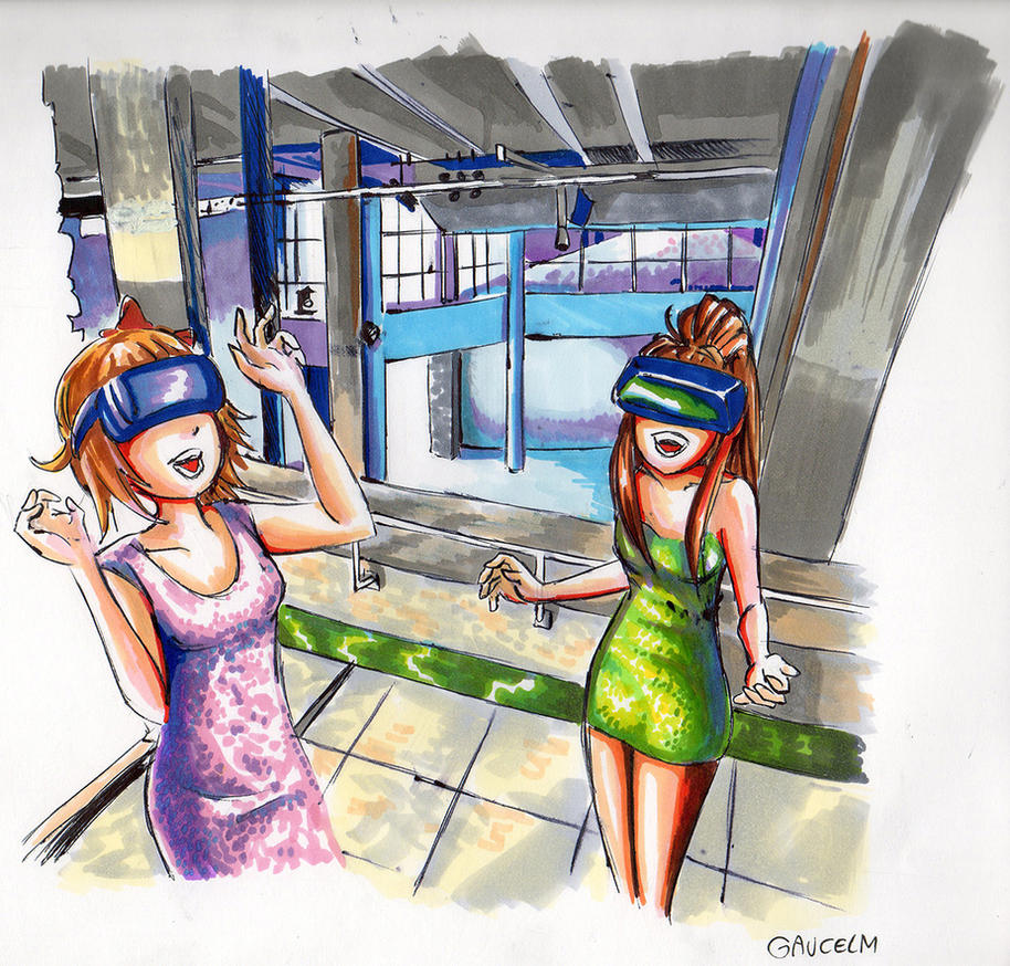 Sayori and Monika enjoy VR at the Palais de Tokyo by gaucelm