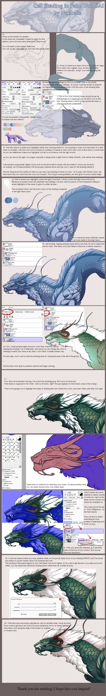 Cell Shading in Paint Tool SAI - TUTORIAL by noebelle