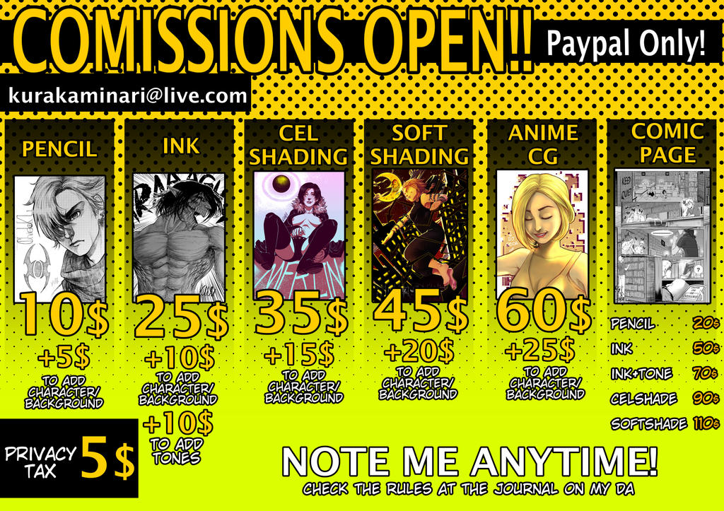 COMISSIONS OPEN!! NEW TABLE OF PRICES! by KuraKaminari