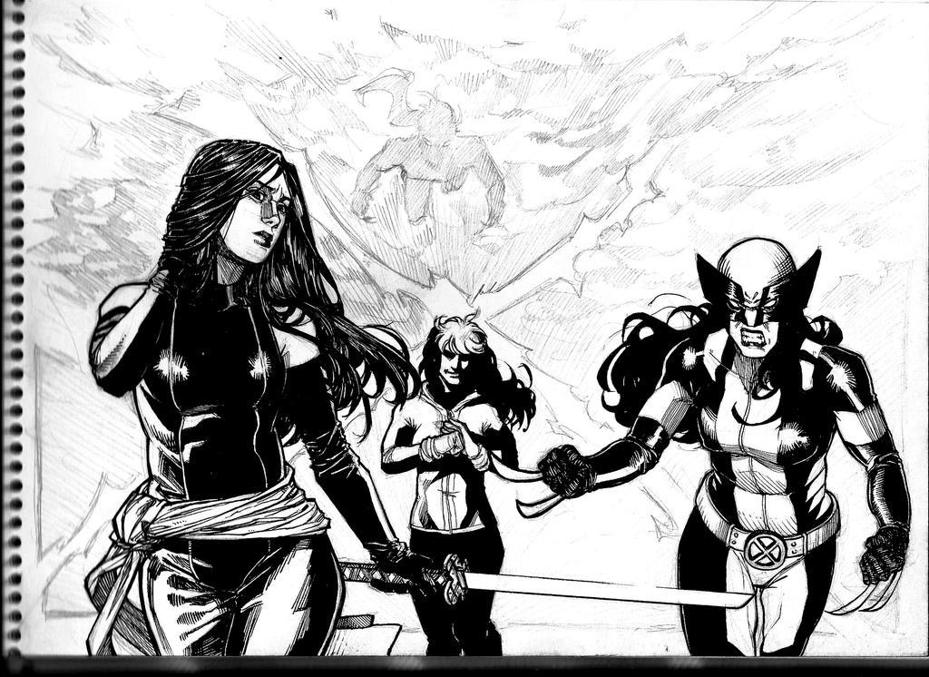 X-MEN Gals INKSKETCH by KuraKaminari
