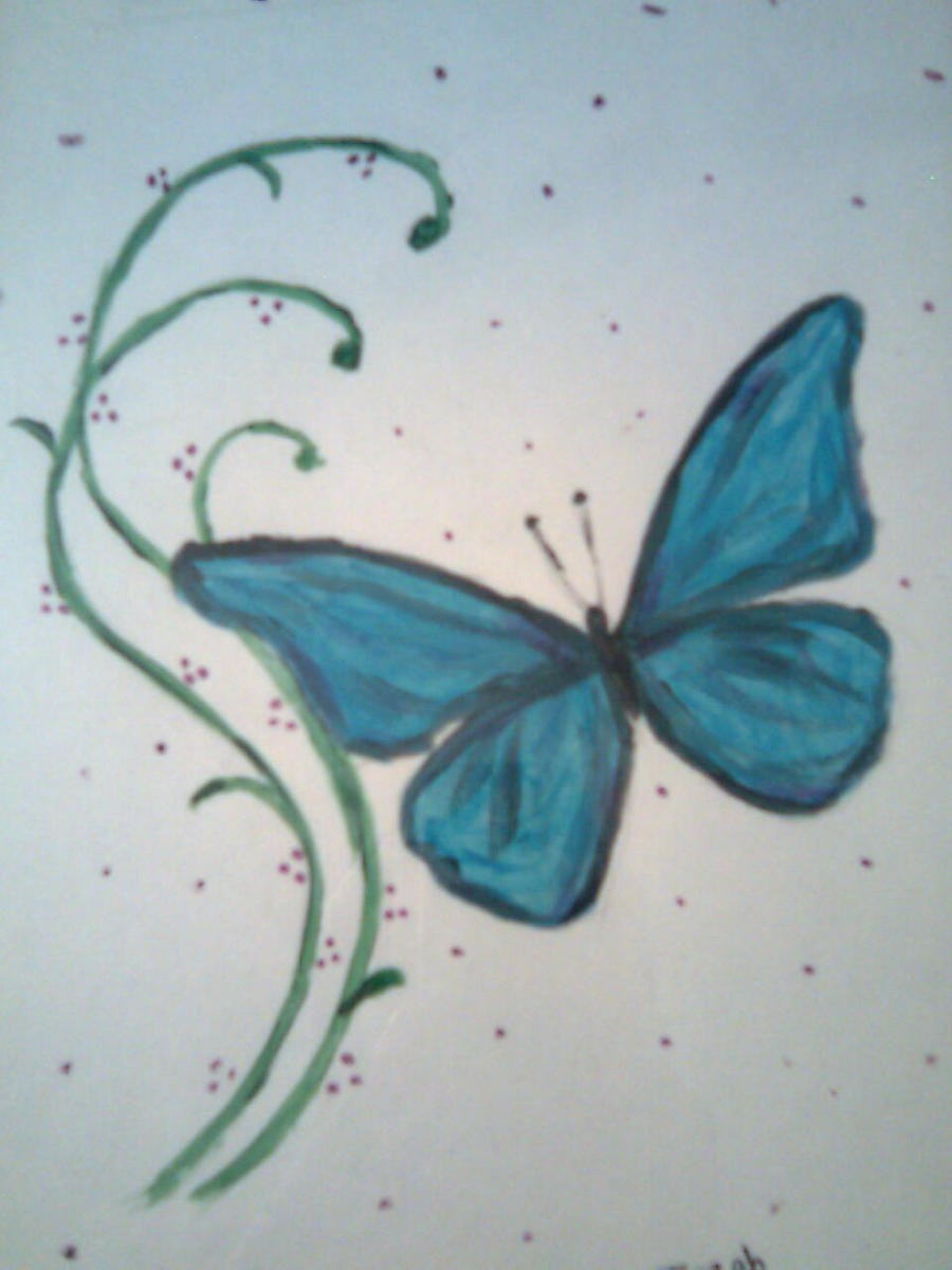 Butterfly Blue Painting By NamineEveningLight