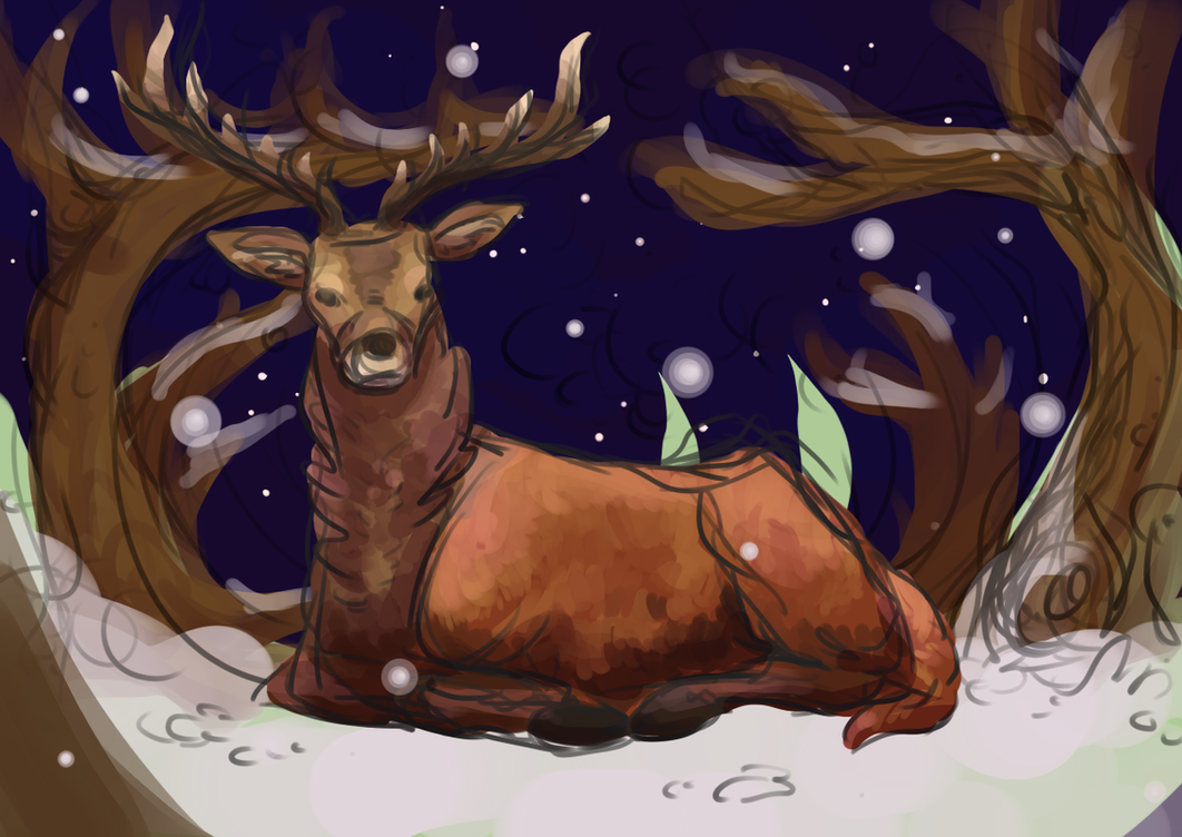 Stag in Snow by Hollymist