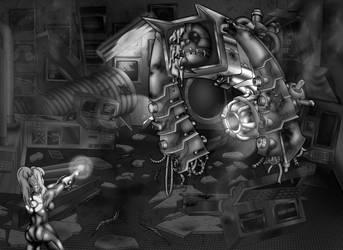 Nightmare Vs. Zero Suit Samus (B/W contest entry) by urkelbot666