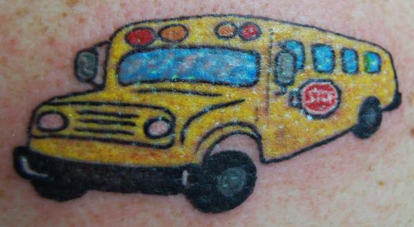 Nancy's School Bus - shoulder tattoo