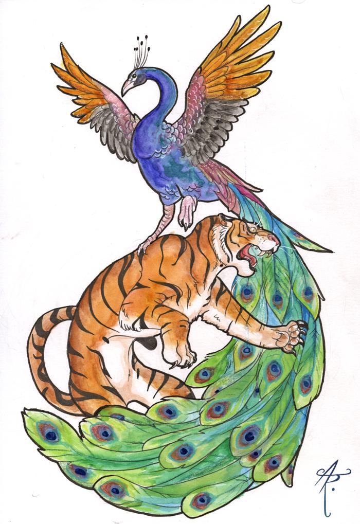 Tiger + Peacock by PhantomStalker