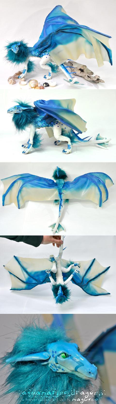 Commission: Aquamarine Dragon by Magweno